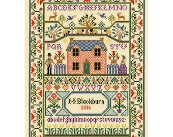 Bothy Threads Country Cottage Historical Sampler Counted Cross Stitch Kit by Moira Blackburn - 24cm x 34cm