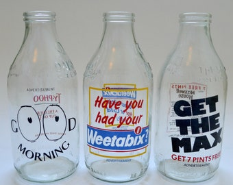 Set of 3 Vintage 1980's Milk Bottles Advertising Weetabix and Typhoo Tea