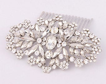 Crystal Bridal Hair Comb Art Deco Bridesmaid Gift Bridal Hair Piece Wedding Hair Accessories Bridal Headpiece Silver Bridal Hair Jewelry