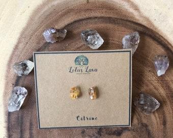 Raw Citrine Stud Earrings