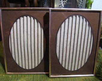 """Vintage Set 2 Reverse Painted Gold Metal Picture Frames w Brown and Black Oval Matte 5"""" x 7"""" Gold Metal circa 1970s Home and Wedding Decor"""