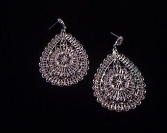 Gyspy style silver frill earrings