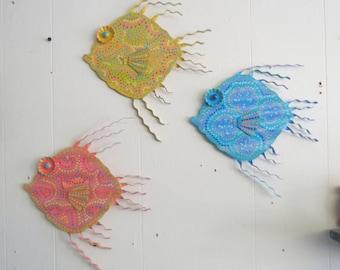 Custom painted Metal Fish wall or Outdoor Art Hand Painted Custom Painted Decor Beach Lake Nautical   Fish Art, Metal Fish, Fun Whimsy