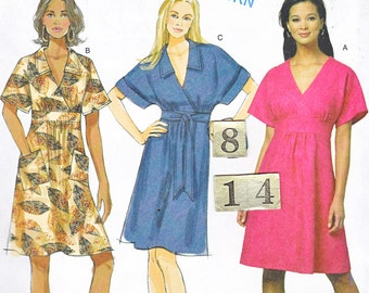 Easy, Empire Waist Dress Sewing Pattern/ Butterick 5640 V neck, collared, tied, flared dress, UnCut/ Size 8 10 12 14