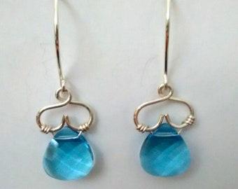 Light blue aqua briolette crystal  sterling silver earrings with upside down hearts