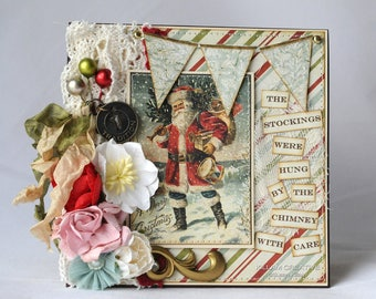 The Stockings Were Hung By The Chimney With Care, Vintage Christmas, Christmas Card, Greeting Card, Handmade Card, Layered Card