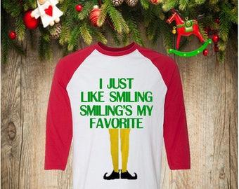 Elf Christmas Shirt, Buddy the Elf, Smiling is my Favorite Christmas Shirt