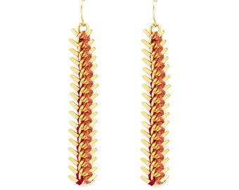 Spiky earrings  trendy embroidered with cotton thread