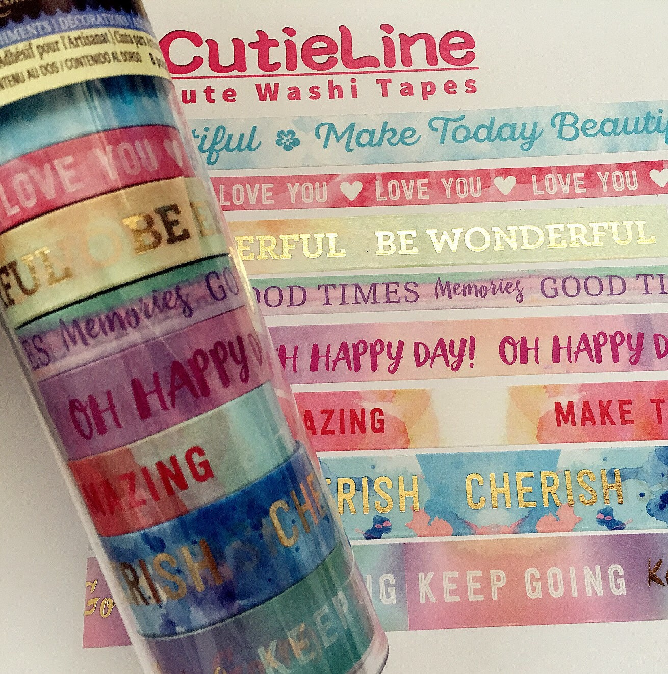 Recollections Washi Tapes 8 Rolls Celebrate Cheerful Happy