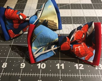 Spider-Man-- bow ties, hair bow, and pins. Great for any occasion. For Men, Women, and Kids . You Can't Go Wrong With Dee Rite Bows!!