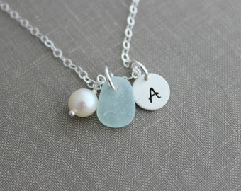 Genuine Sea Glass, Freshwater Pearl, and Sterling Silver Initial Necklace, Pure Beach Necklace, Choice of Color Personalized Mini initial