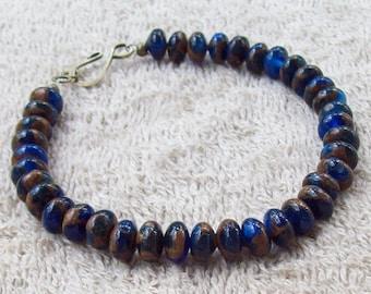 Navy Blue n Gold Jasper Bracelet, Stone Bracelet, blue, gemstone bracelet, gold, stacking bracelet, gems, beaded, smooth, round