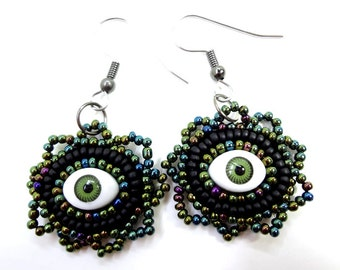 Gothic Jewelry: Black and Green Evil Eye Earrings