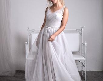 Gray wedding dress,Silver gray wedding dress,Tulle wedding gown-Argenty