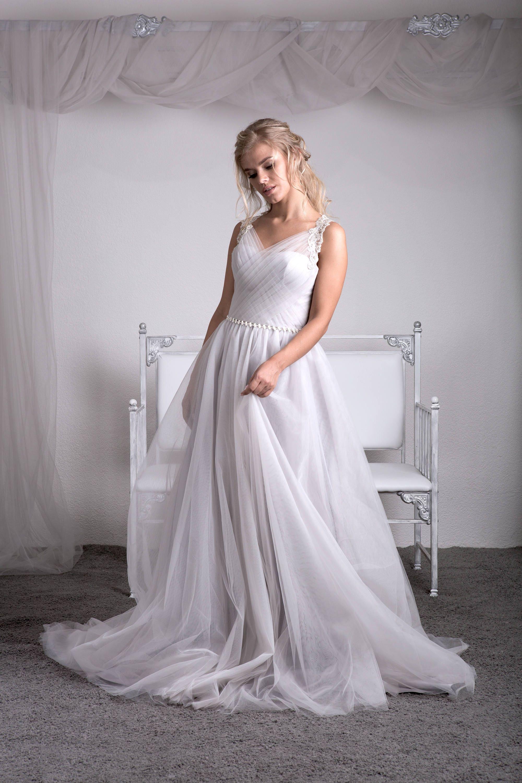 Grau silbergrau Brautkleid Brautkleid Tüll Hochzeit