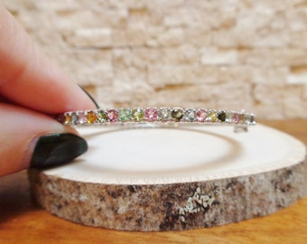 Small Mixed Tourmaline bangle in Sterling Silver