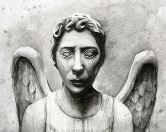 Weeping Angels Doctor Who Art Print Angel Watercolor Painting Weeping Angel Print Don't Blink Sci-Fi Painting Wall Decor Whovian Art