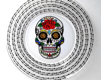 Sugar Skull, Day of the Dead, Dia De Los Muertos, Skull, Kitchen Decor, Plates, Personalized Gift, Wedding Gift, Housewarming Gift,