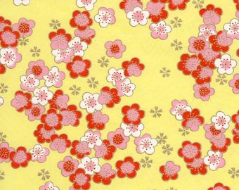 Chiyogami or yuzen paper - scattered cherry blooms - in pinks on sunny yellow, 9x12 inches