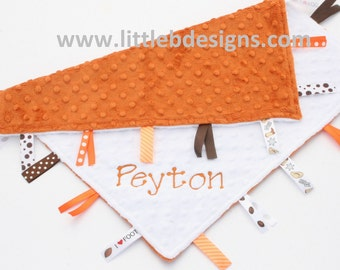 Personalized Baby Blanket Tag Ribbon Lovey - Burnt Orange and White Minky - Football