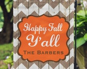 Garden Flag - Happy Fall Y'all - Personalized Garden Flag - Rustic Chevron Flag - Personalized Yard Flag - Wedding Gift - Double Sided Flag