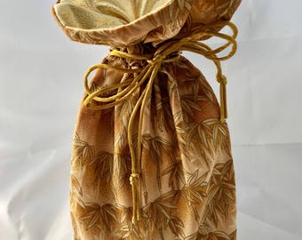 Small Gift Bag - Bamboo II - Golden/Gold - Limited Edition Fabric - Fully Lined with Gold Lamé (GBS-24-0155-S-LR2)