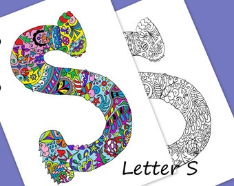 Letter S Colouring Page, Zentangle Art Inspired, Adults Coloring Page, Coloring Zentangle Alphabet Letters, Embroidery Design