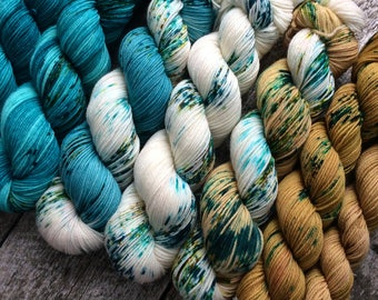 yarn Kit for find your fade shawl/7 colors hand dyed yarn/Speckled/515grams/Fingering merino superwash/yarn kit to knit a shawl/gradient kit