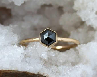 Black Diamond Hexagon Ring, Unique Engagement Ring, Rose Cut Black Diamond, Hexagonal Diamond, 14k Yellow Gold Band, Conflict Free