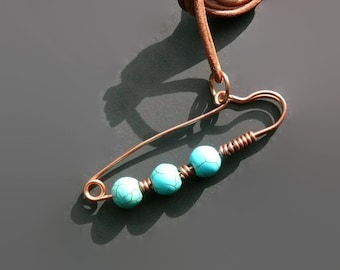 Turquoise Necklace, Lucky Pin Necklace, Good Luck Necklace, Copper Jewelry, Turquoise Beads, Gift For Her, Copper Necklace