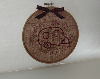 Embroidered Teardrop Trailer on Burlap - Framed