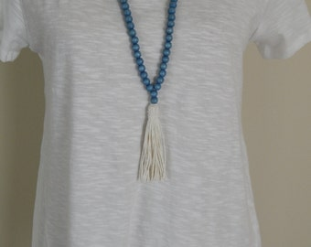 SALE Long bead necklace with blue wood beads and cotton hemp tassel, bohemian style, beach boho, summer, wood beads, layering, neutral