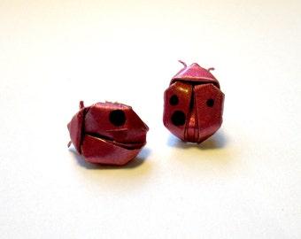 origami lady beetle stud earrings