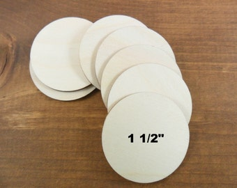 "Wood Circles 1 1/2"" Laser Cut Wood - No Hole - 20 Pieces"