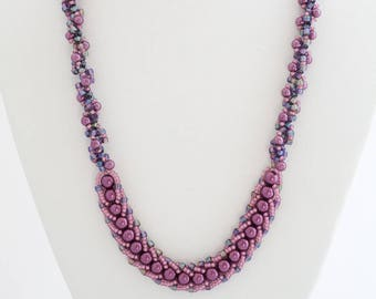 Purple Statement Necklace Iridescent Rope Seed Bead Necklace Swarovski Crystal Necklace Purple Pearl Earrings Purple Wedding Gift Idea