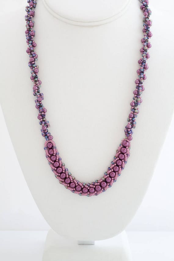 Iridescent Purple Spiral Necklace Set