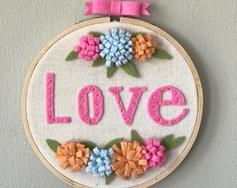 Embroidered wool felt hoop art, baby girl room decor, shower gift, hoop art
