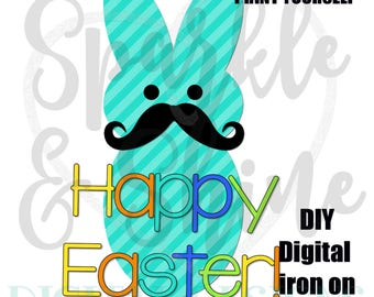 Mustache Easter Iron On - Digital Iron On - Digital tshirt iron on - iron on transfer - Boy iron on - instant download - 1st Easter Iron On