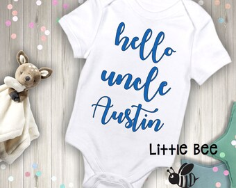 Hello uncle, Pregnancy announcement to uncle, Birth announcement, New uncle,New Baby, Body Suit, New Baby, Pregnancy Reveal, Custom reveal