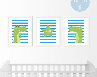 Set of 3 Crocodile Star Nursery Prints, Customize your own. Choose your own colour and background!
