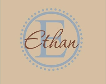 Monogram Name PERSONALIZED initial 22x22 Pink Brown Vinyl Wall Lettering Words Quotes Decals Art Custom