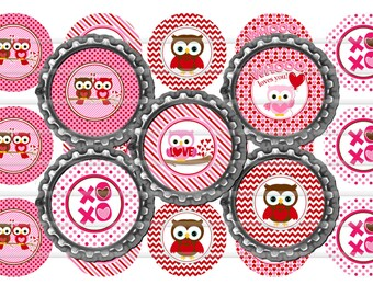 "Valentine Owls 1"" Bottle Cap Image 4""x6"" Digital Collage Sheet Instant Download 
