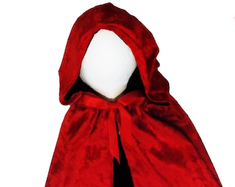 Little Red Riding Hood Cape: Black and Red cape with oversized hood, birthday party, halloween costume