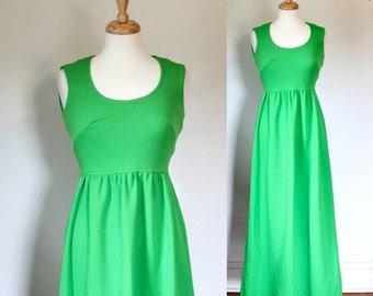 Vintage Dress / Vintage 70s Dress / Maxi Dress / 70s Maxi Dress / Polyester Knit Dress / 60s Dress / Green Dress / Size Small