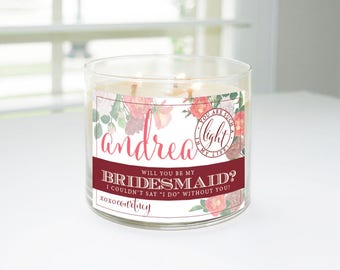 Will You Be My Bridesmaid? Custom Candle Label (Pinks) - Bridesmaid Proposal, Maid of Honor, Matron of Honor