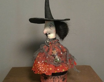 Folk Art Primitive Herbalist Witch