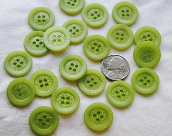 "20 Buttons, Glitter Sparkle, Matching Green Buttons, 13/16"", 4 hole sew through, Sewing, Crafting, Jewelry, Collect (AE 74)"