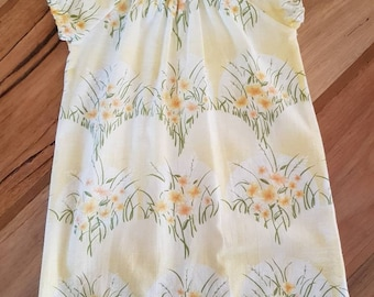 Upcyled, yellow floral retro fabric, size 3 little girls smock dress.