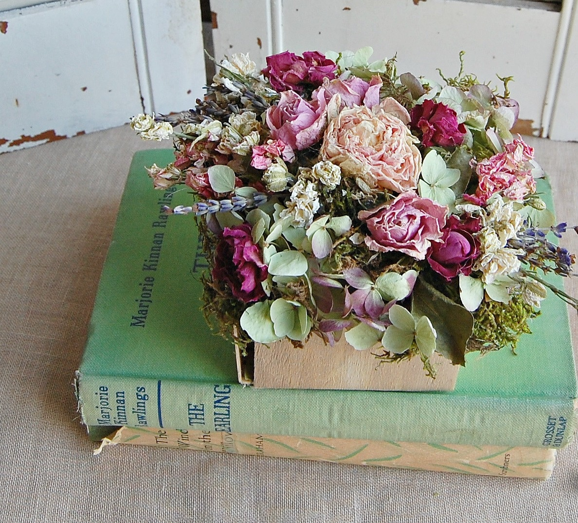 Dried Flower Arrangement Shabby Cottage Dried Floral
