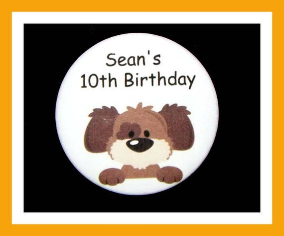Birthday Party Favors, Personalized Button,Dog Pin Favor,School Favors,Kids Party Favor,Boy Birthday,Girl Birthday,Pins,Favor Tag Set of 10